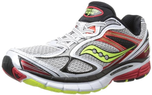 Saucony Men's Guide 7 Running Shoe,White/Red/Citron,10 M US