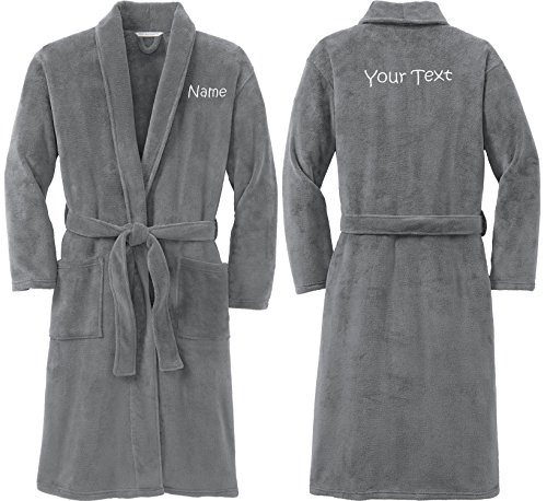 Personalized Plush Microfleece Robe with Embroidered Name & Back, Smoke, Large/X-Large