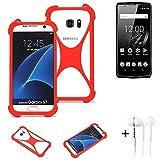 K-S-Trade® Handyhülle + Kopfhörer Für Oukitel K10 Schutzhülle Bumper Silikon Schutz Hülle Cover Case Silikoncase Silikonbumper TPU Softcase Smartphone, Rot (1x),