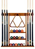 Cue Rack Only- 6 Pool Billiard Stick + Ball Set Wall Rack Holder Made of 100% Wood Dark Oak Finish