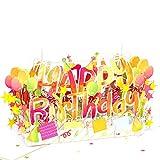 UNICUM Geburtstagskarte 3D Pop-Up Happy Birthday | Glückwunschkarte zum Geburtstag | mit Umschlag | Party | Happy Birthday Card | BG137