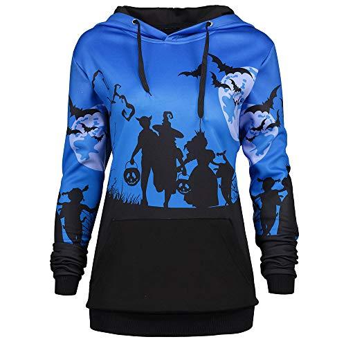 MORCHAN ❤ Tops Champion Femmes Encapuchonné Halloween Lune Chauve Souris Impression Cordon de Serrage Poche Sweat à Capuche Sweat-Shirt Tops(FR-46/CN-L,Bleu)