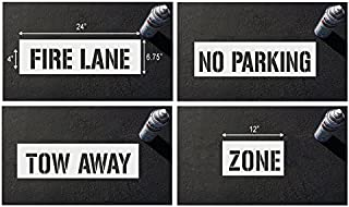 FIRE LINE NO PARKING TOW AWAY Curb blocks parking lot stencils (4