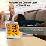 ThermoPro Indoor Hygrometer Humidity Gauge Indicator Digital Thermometer Room Temperature and Humidity Monitor with… 9 【Upgraded version - Touch Sensitive Hygrometer】Our Hygrometer Thermometer features a touch backlight button located on the bezel, making it easier to activate and light up the screen in dark conditions 【Air Comfort Indicator】Humidity meter shows the comfort level of your home, based on current humidity level, always be aware of your home conditions 【MAX & MIN Records】Humidity Monitor with Indoor Thermometer stores and displays All time/24 hours MAX & MIN humidity and temperature records