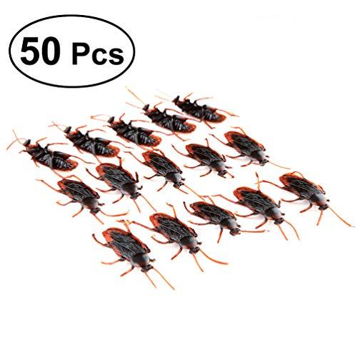 Wakauto Gefälschte Kakerlaken Spinnen PVC Realistische Käfer für Halloween Party Gefälligkeiten Und Dekoration 50Pcs