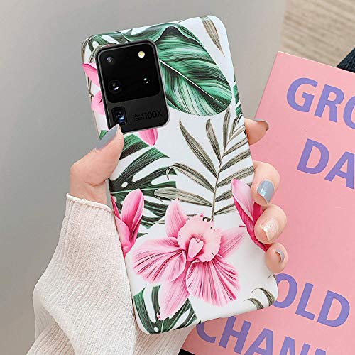 Herbests Kompatibel mit Samsung Galaxy S20 Ultra Handyhülle Blumen Blätter Motiv Muster Ultra Dünn TPU Schutzhülle Silikon Handyhülle Stoßfest Antikratz Case Cover Silikon Bumper,Rosa Blumen