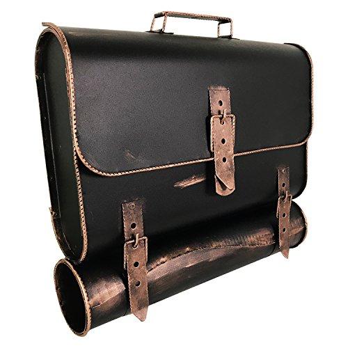 Briefkasten mit Zeitungsrolle – Schulranzen-Design macht den Postkasten zum Hingucker -  Wand-Briefkasten mit Zeitungsfach rechts öffnend – Bronze-Vintage-Look – (HxBxT)37x40x10cm