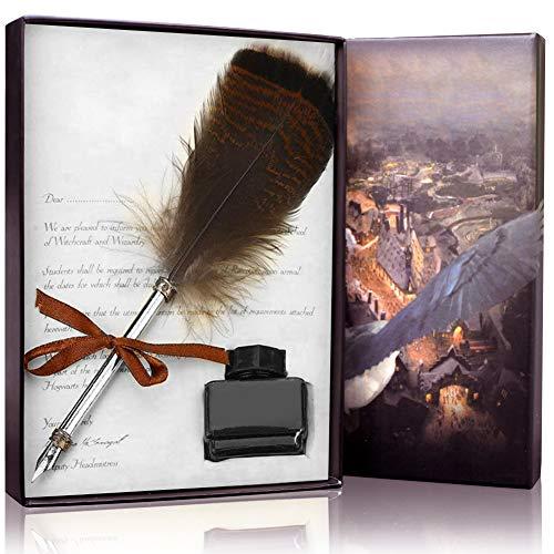 Capesso Federstift, Antik-Optik, Tauchfedern, Kalligrafie-Stift-Set, Schreibkiel, Tintenfüllstift