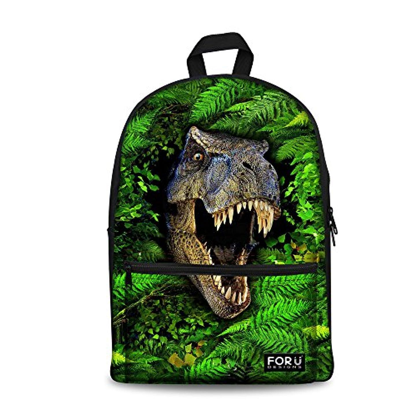 Bigcardesign Green Dinosaur Canvas Backpack School Bag for Teenager Boys Book Bag