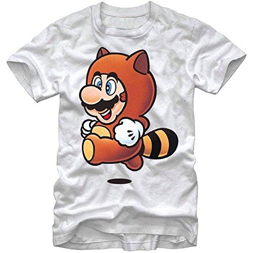 Nintendo Men's Tanookie Yeah T-Shirt, White, X-Large