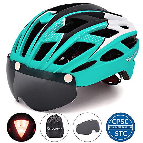 VICTGOAL Fahrradhelm Herren Damen Erwachsene Fahrrad Zyklus Helm Magnetischer Visier-Schutzbrille mit LED-Rücklicht 57-61 cm (Cyan)