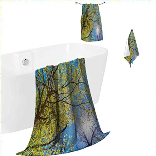 alisoso Forest Polyester Yoga Towel Set Multifunctional high Absorption Tree Branches Pastoral Lumber Wide Flourishing Natural Beauty Eco Backed Image Art Green Blue