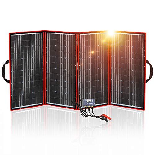DOKIO Faltbares Solarpanel Mobiles monokristallinen Solarzellen 300w mit Laderegler ( 2x USB-Port) Perfekt für Camping, Boot, und Adventure.