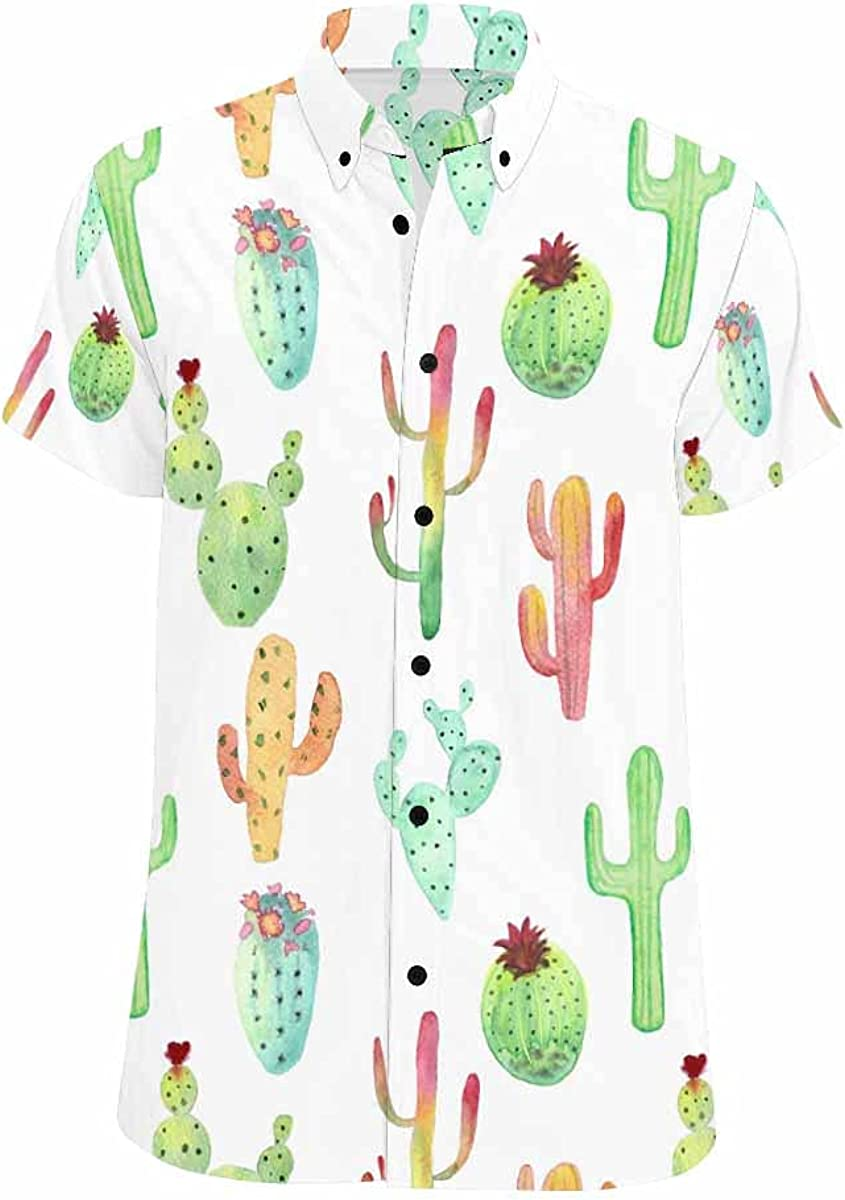 InterestPrint Watercolor Cactus unisex Colorful Relax Year-end annual account Summer Haw Shirts