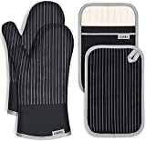 CUSIRA Oven Mitts and Pot Holders, Extra Long Silicone Oven Gloves, 500 F Heat Resistant Oven Mitts...