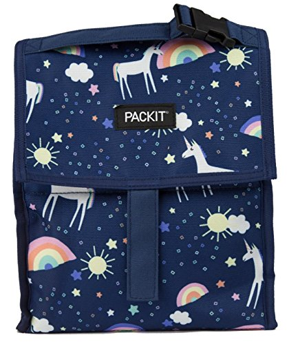 PackIt PACK IT 10 inch 10 hour Freezable Foldable Reusable Multipal Uses Lunch Bag with Adjustable Strap (UnicornSkyBlue)