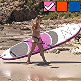 """Crew Axel Inflatable Stand Up Paddle Board (6"""" Inch Thick) Non Slip SUP W Premium Backpack, 3 Fins, Paddle, Pump, Leash –Large (10' x 30"""" x 6"""") Light Weight (17lb) Wide Stance Kids & Adults (Pink)"""