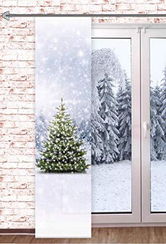 Schiebegardine Tannenbaum 60x245cm Weihnachtsgardine Raumteiler Schaufensterdeko Weihnachten