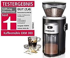 ROMMELSBACHER Kaffekvarn EKM 300 – konkvarn i rostfritt stål, malningsgrad i 12 steg, mängddosering upp till 10 portioner, fyllningsmängdbönbehållare 220 g, 150 watt, svart/silver