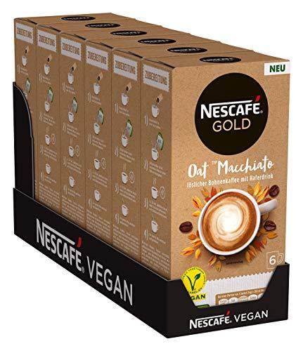 NESCAFÉ GOLD Oat Typ Macchiato, Getränkepulver (aus löslichem Bohnenkaffee und Haferdrink, koffeinhaltig) 6er Pack (à 6 x 16 g Sticks)