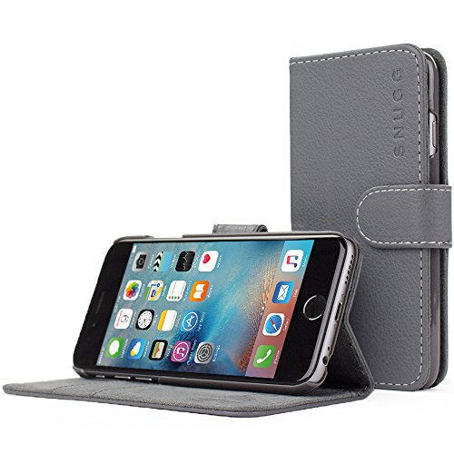 Custodia per iPhone 6, Snugg - Custodia Grigia a Libretto in Ecopelle con Garanzia a Vita per Apple iPhone 6