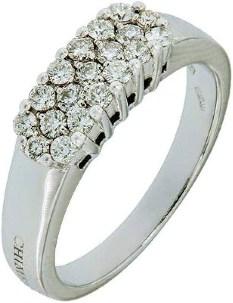 Chimento,anello per donna in oro bianco 18k(5,5gr), con 19 diamanti 0,49 carati