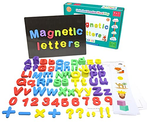 ButterflyEduFields 144 Magnetic Alphabets Words soft foam made letters ( capital, small ) Spelling word building Learning Educational Toys for Kids 3-5 years Boys Girls, Magnetic board with Phonics Guide