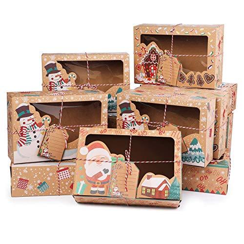 12 Cajas Cajas de Regalo Cajas de Galletas,Cajas De Regalo De Dulces,Cupcakes Navideños Cajas,Embalaje De Galletas Christmas Cajas,Cajas para Galletas Navideñas con Ventana,Caja de Navidad