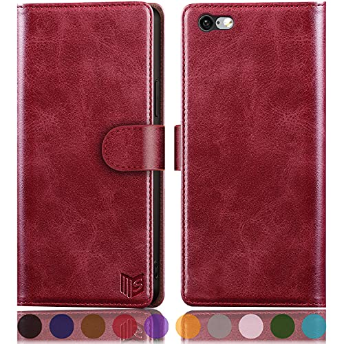 """SUANPOT for iPhone 6 Plus / 6S Plus 5.5"""" with RFID Blocking Leather Wallet case Credit Card Holder, Flip Folio Book Phone case Shockproof Cover for Women Men for Apple 6S Plus case Wallet Red"""