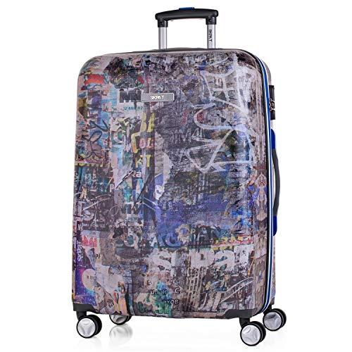 SKPAT - Trolley koffer 60 cm, middelgrote, ABS geprint. Stijf, bestendig, robuust en licht. Telescopische handgreep, 2 intrekbare handgrepen, 4 dubbele wielen 53960, Color Donkergrijs