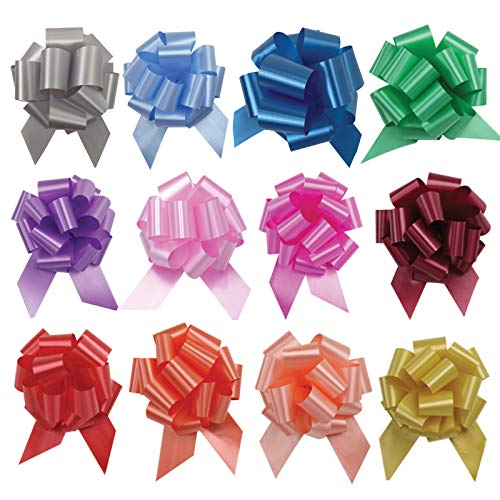 UNIQOOO 48PCS 12 Colors Assorted Gift Basket Gift Wrapping Pull Bows Large 6 Inch, For Birthday Mother's Day Anniversary Gift Bags Boxes Car, Wedding Pew Bows, Florist Packing Decor Set, Easy Assemble