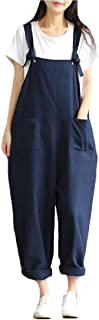 XINHEO Women Leisure Cotton Over Sized Solid Relaxed-Fit Jumpsuit Overalls