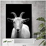 wzgsffs Schwarz Und Weiß Tier Ziege Gemälde Leinwand