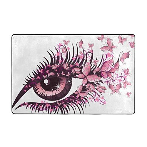 DIYAB Badteppich,Fee weibliches Auge Schmetterlinge Wimpern Mascara Stare Party Makeup 29.5X17.5in