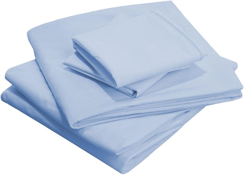 Scalabedding 71,1cm Poche profonde 100% coton égypcravaten 600fils solide de taille double de lit Bleu ciel
