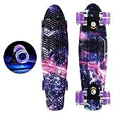 zrshygs 22in Completo Mini Cruiser Skateboard Longboard Intermitente Rueda Fish Skate Board
