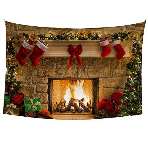JMYDecor Wandteppich Merry Christmas Eve Fotohintergr& Weihnachtsbäume Xmas Kamin Geschenke Rote Schleife Strumpf Hintergründe für Fotografie