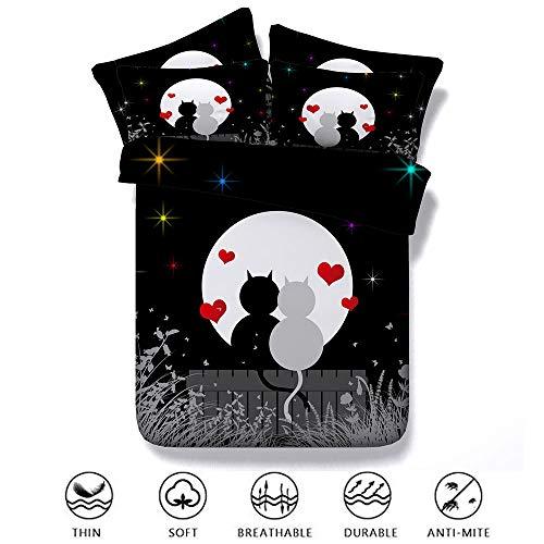 Fansu Housse de Couettes Parure de Lit 2 Personnes, 3D Coeur d'amour Moderne Imprimées Tencel Ensemble de Literie 3 Pièces avec 1 Housses de Couettes 2 Taies d'oreillers (220x240cm,Couple)