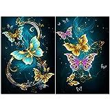 Fingertoys Juego de pintura con diamantes 5D, diseño de mariposa, juego de pintura con diamantes de imitación redondos, kit de perforación completa para decoración de pared del hogar