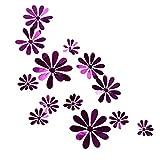 BLOUR 12 unids/Set Nuevo Espejo 3D Flor Pegatinas de Pared Oro Plata púrpura Fiesta Boda decoración para decoración del hogar Pegatina en la Pared