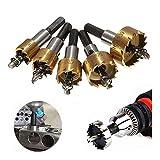 Bits agujero de sierra de perforación del sistema de herramientas de diamante Sierras Set For la instalación de cerraduras 16/18,5/20/25/30 mm, 5 piezas de carburo de punta HSS Broca consideró el