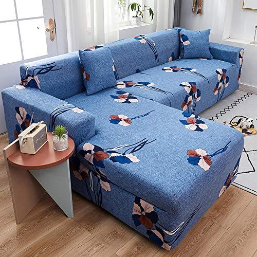 Funda de sofá Antideslizante Fundas de sofá de 4 plazas con Estampado de celosía en Forma de L para Sala de Estar, Fundas elásticas Antipolvo Protectoras de sofá para Esquinas
