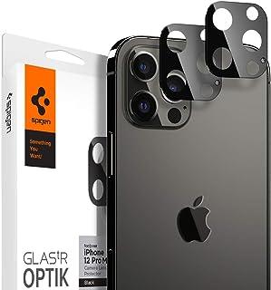 واقي شاشة وعدسة الكاميرا من سبايجن غلاستر اوبتك [مجموعة من قطعتين] مصمم لهاتف ايفون 12 برو ماكس- اسود