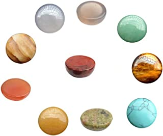 10 Pcs Natural Gemstone and Crystal Round 16mm Mixed Color Cabochons Beads Lots Wholesale Supplies for Handmade DIY Jewelry Making ( No Hole Random Color)