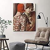 Pintura al óleo póster Cuadro Modular lienzo pintura pared arte Tamara De Lempicka compartiendo secretos carteles impresión moderna sala de estar decoración del hogar sin marco 60x90cm