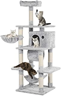Yaheetech 69.5 inches Stable Cat Tree with Freely Rotating Tunnel, Padded Platform with Replaceable Dangling Balls, Hammock Basket and Condo, Cat Tower Furniture-for Kittens, Cats and Pets