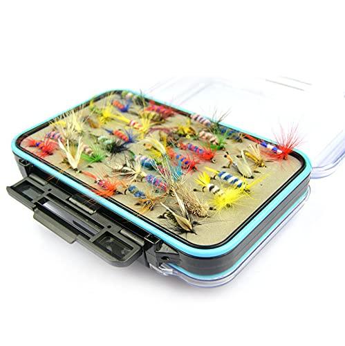 Riiai 64 unids señuelos de pesca mosca gancho conjunto mosca cebo transparente mosca pesca caja carpa cebo bagre trucha plátano pescado pesca señuelo conjunto