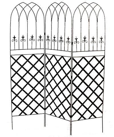 Panacea Gothic Garden Screens with Lattice, Black, Pack of 2