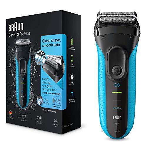 Braun Series3 ProSkin 3010s Elektrorasierer, Wiederaufladbarer Rasierer Herren, schwarz/blau