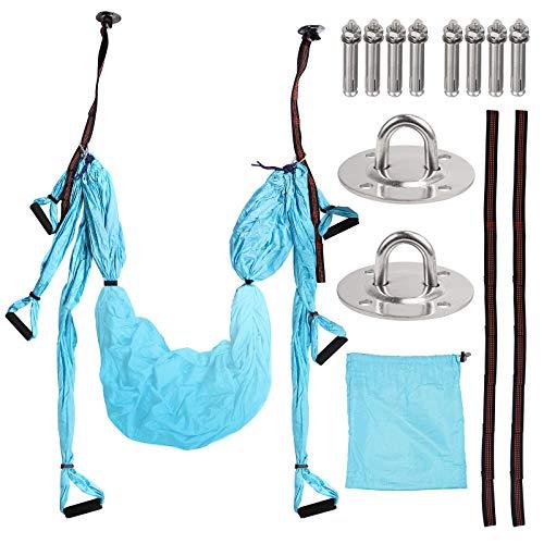 COLFULINE Yoga Hängematte Set, Yoga Schaukel, Decke Hängende Yoga Schaukel inklusive Montagezubehör, Aerial Yoga Hängematte Set für zu Hause, Fitnessstudio, im Freien (Himmelblau)
